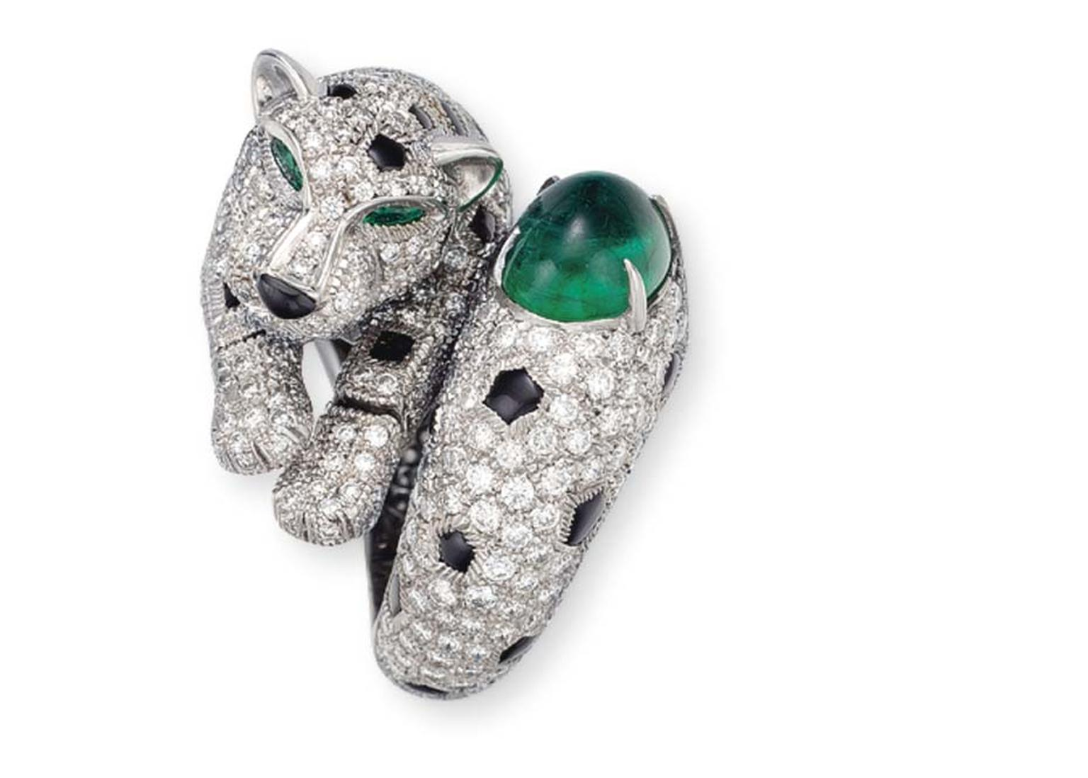 This Cartier emerald, diamond and onyx Panther ring doubled its pre-sale estimate at Christie's Important Jewels sale in New York in 2014.