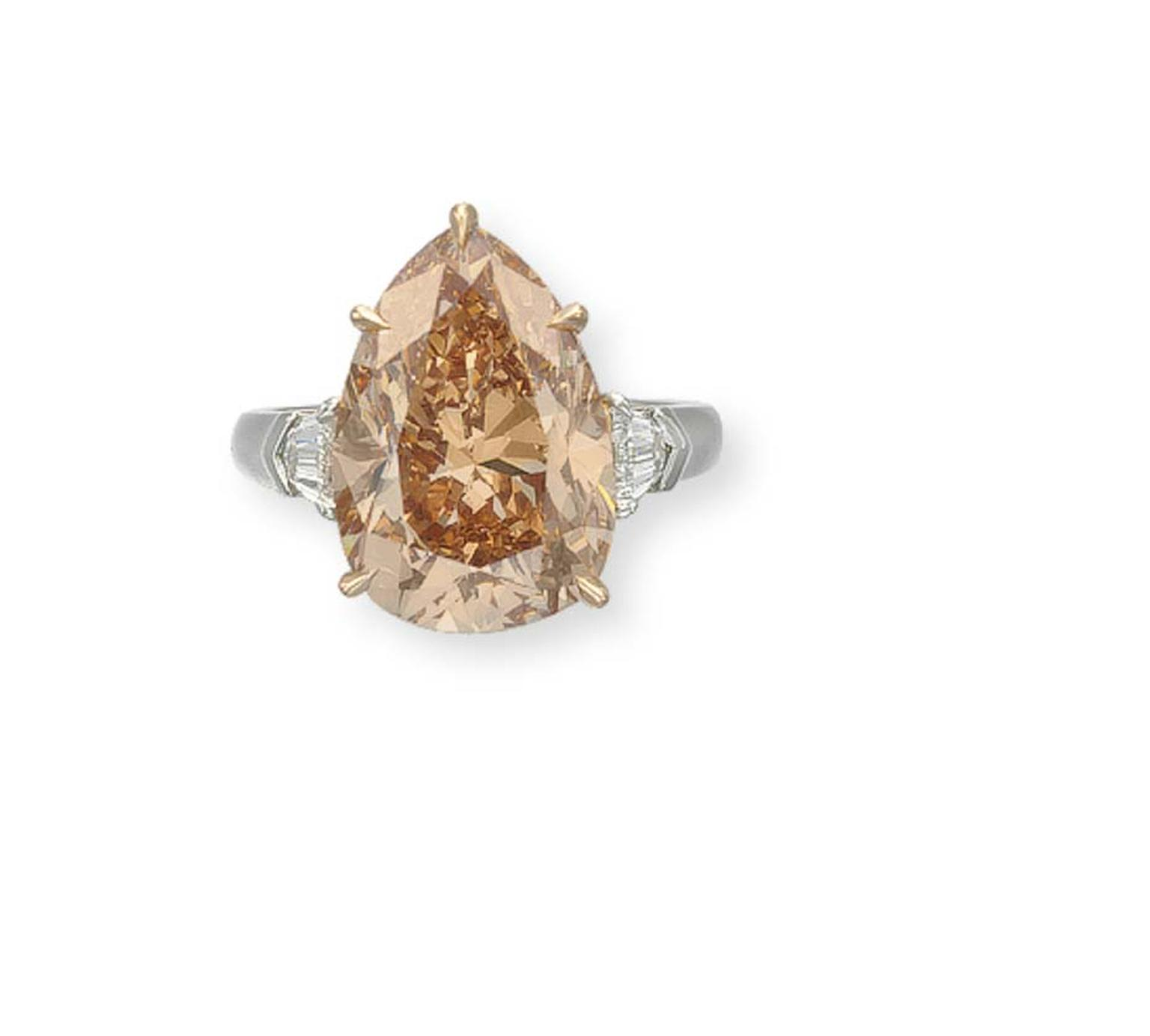 Christie's New York pear-shaped 9.73ct Fancy Brown-Pink Diamond ring with a pre-sale estimate of US$480,000-700,000 sold for a very respectable US$605,000.