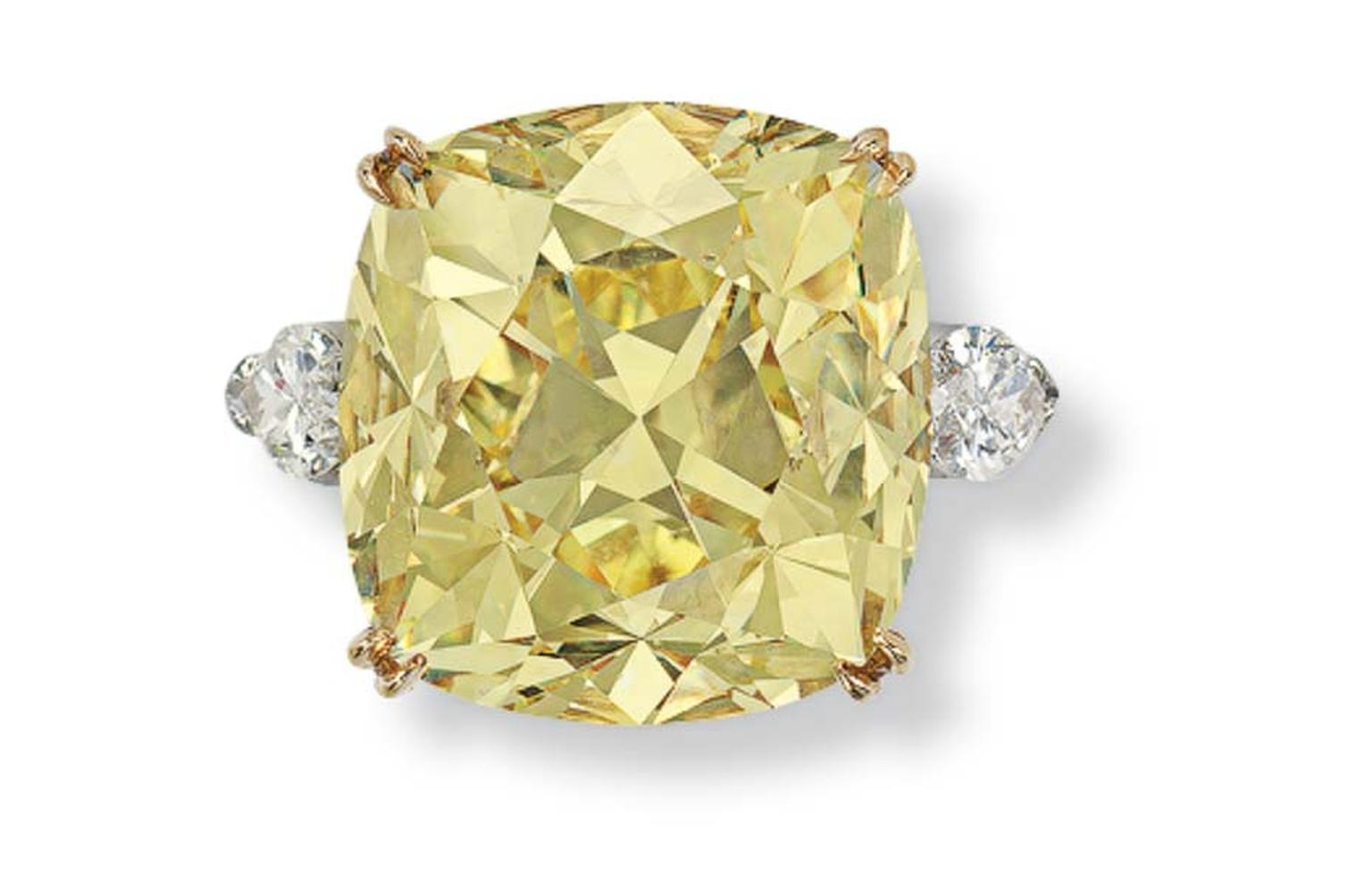 The cushion-cut Fancy Intense 36.09ct Yellow Diamond ring by Graff sold for US$173,000 at Christie's sale of Important Jewels.