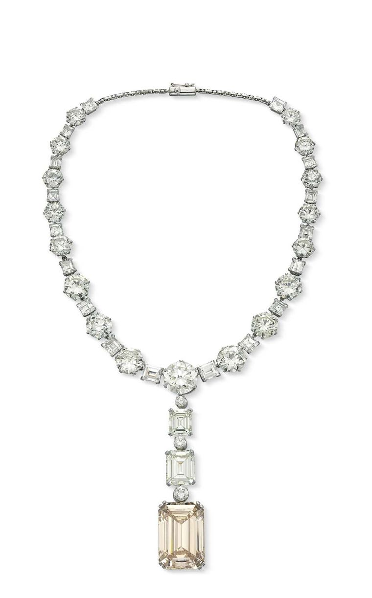 Featuring a 81.38ct rectangular-cut, potentially Internally Flawless Diamond this necklace - the top lot at Christie's sale of Important Jewels, outperformed its pre-sale estimate of US$2.8 million, selling for a lofty $3.189 million.