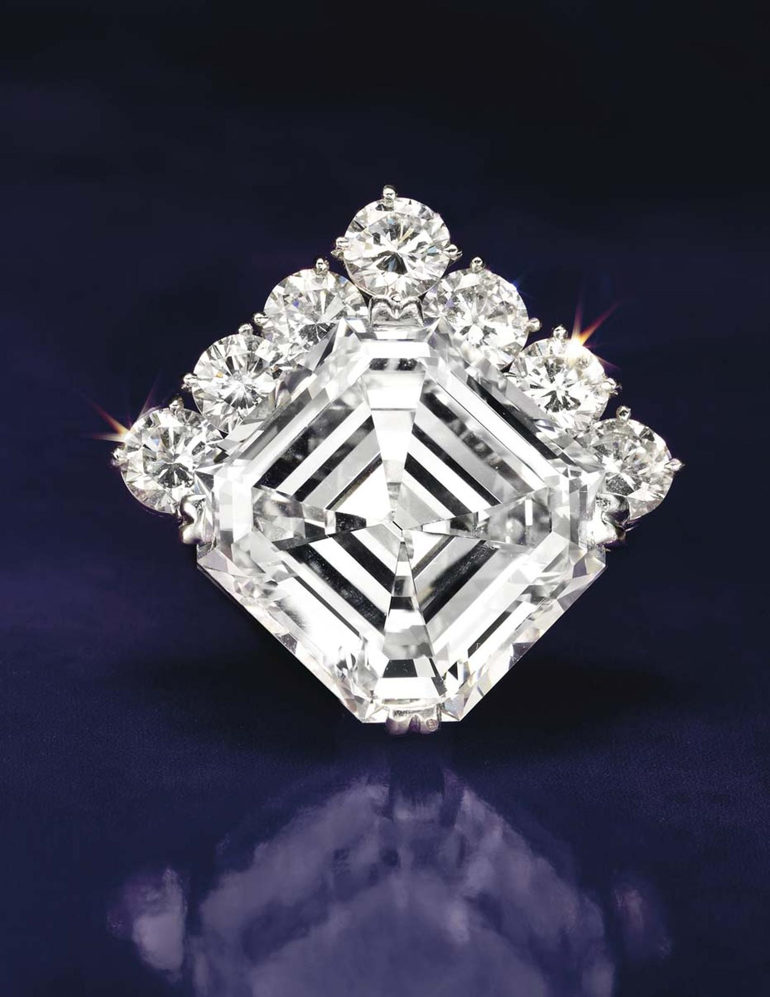 With a pre-sale estimate of US$700,000-900,000, this 18.38ct square-cut H color diamond pendant sold for US$941,000 during Christie's New York sale of Important Jewels.
