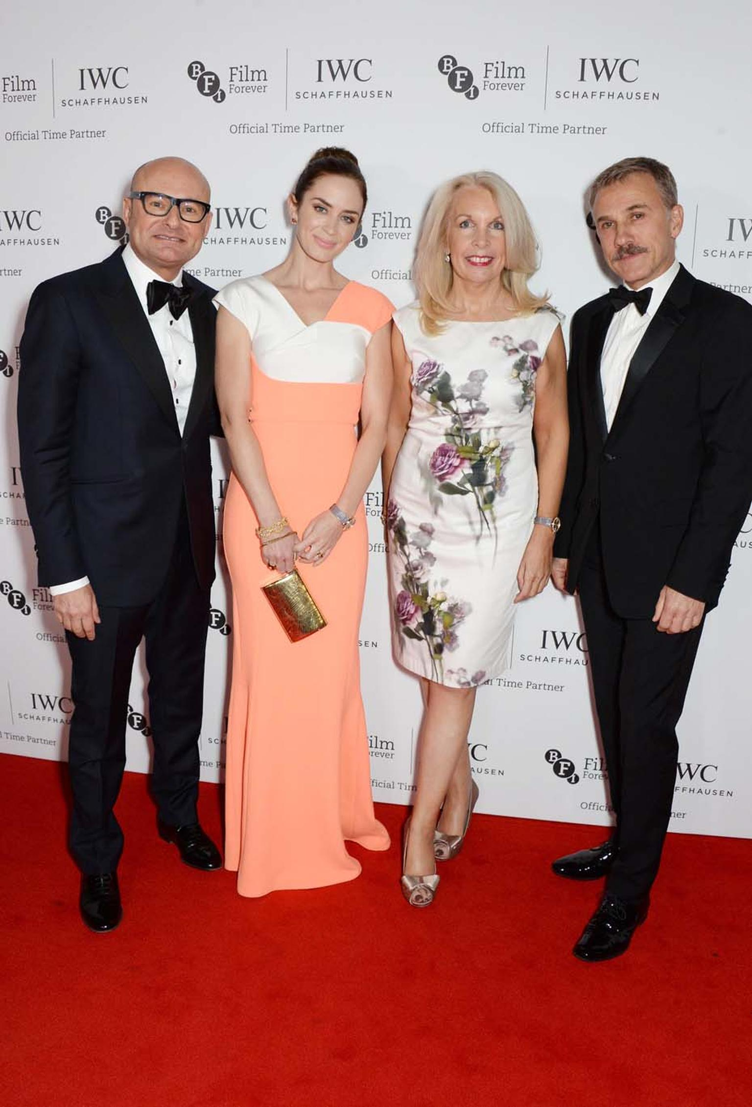 Georges Kern, CEO of IWC Schaffhausen, Emily Blunt, Amanda Nevill, CEO of the BFI, and Christoph Waltz attend the BFI London Film Festival IWC Gala Dinner in honour of the BFI at Battersea Evolution Marquee. Image by: Photopress/IWC