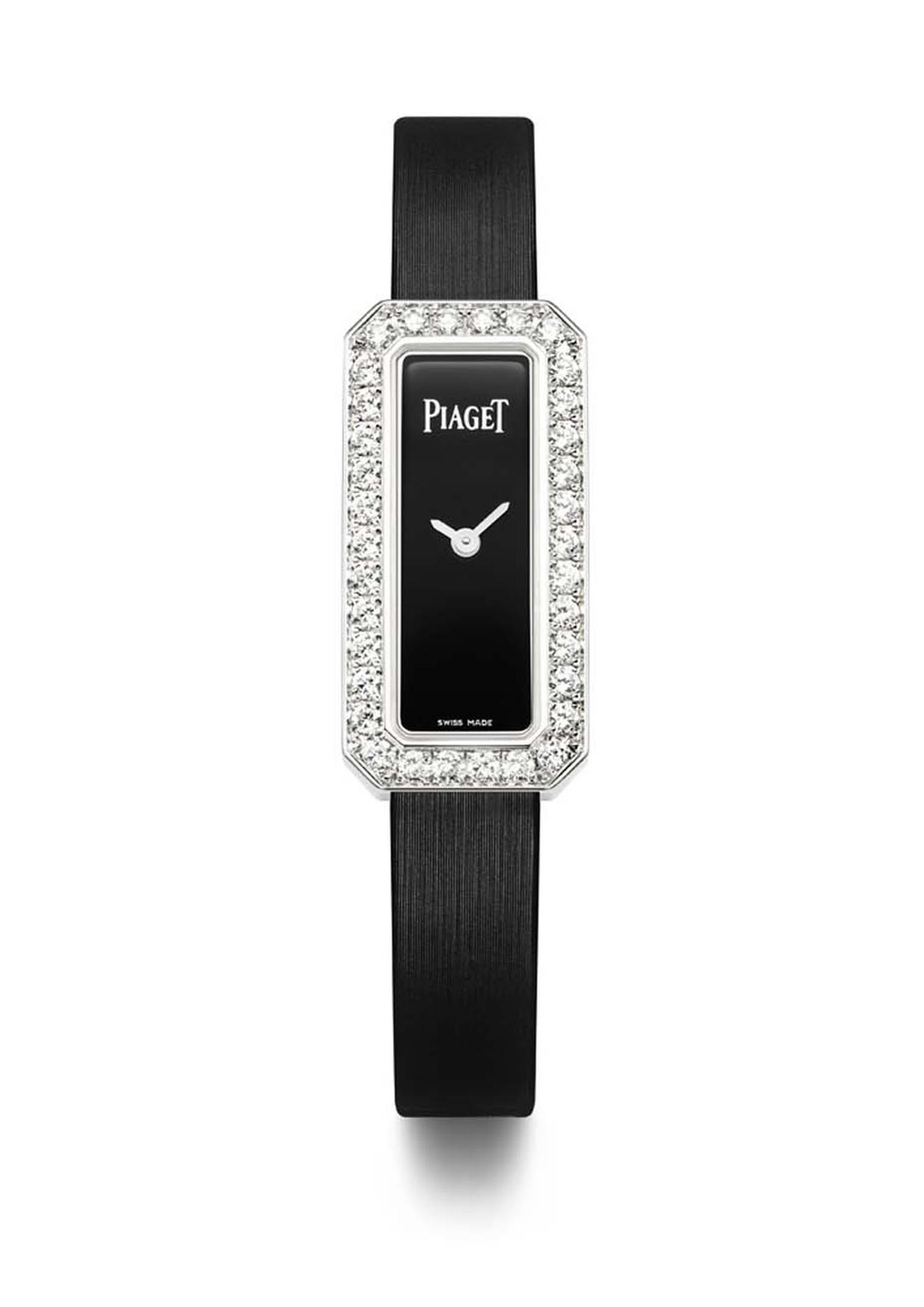 Piaget Limelight Diamonds watch in white gold with an emerald-cut shaped case and black lacquer dial, set with 1.10ct diamonds on the bezel and presented on a black satin strap with an ardillon buckle set with a single diamond.