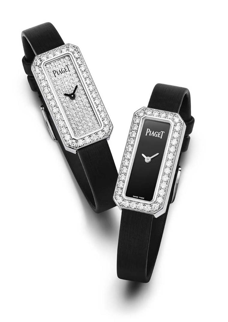 Crafted in white gold and set with over 1.00ct of brilliant-cut diamonds on the bezel, the new, rectangular-shaped Piaget Limelight Diamonds watches is presented in two versions: with a sleek black lacquer dial and fully paved with diamonds.