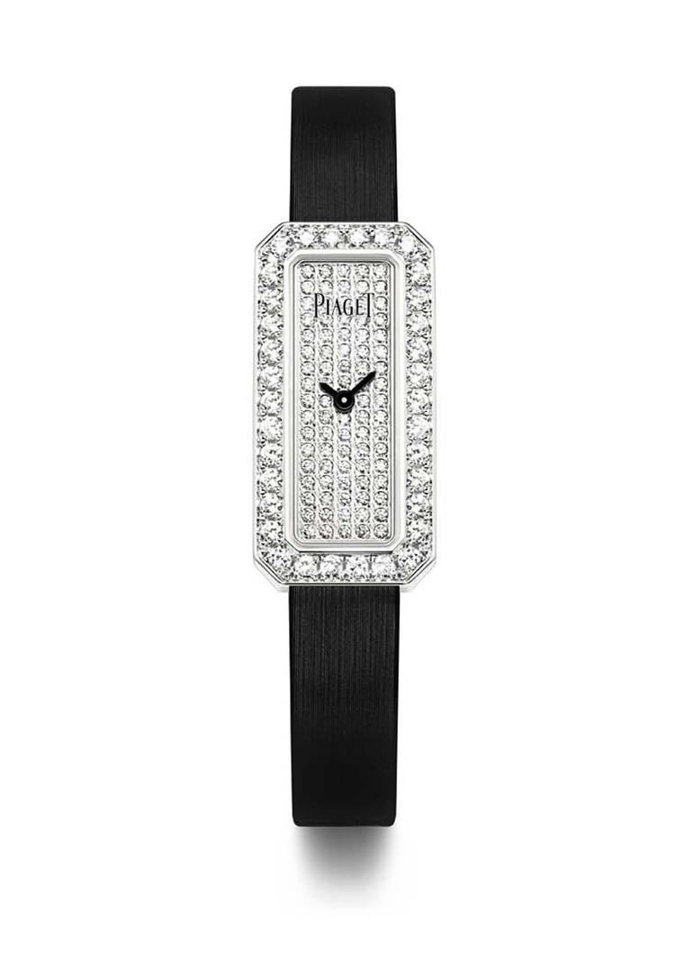 Piaget Limelight Diamonds watch in white gold with an emerald-cut shaped case, set with 1.10ct diamonds on the bezel and a further 0.50ct on the dial, presented on a black satin strap with an ardillon buckle set with a single diamond.