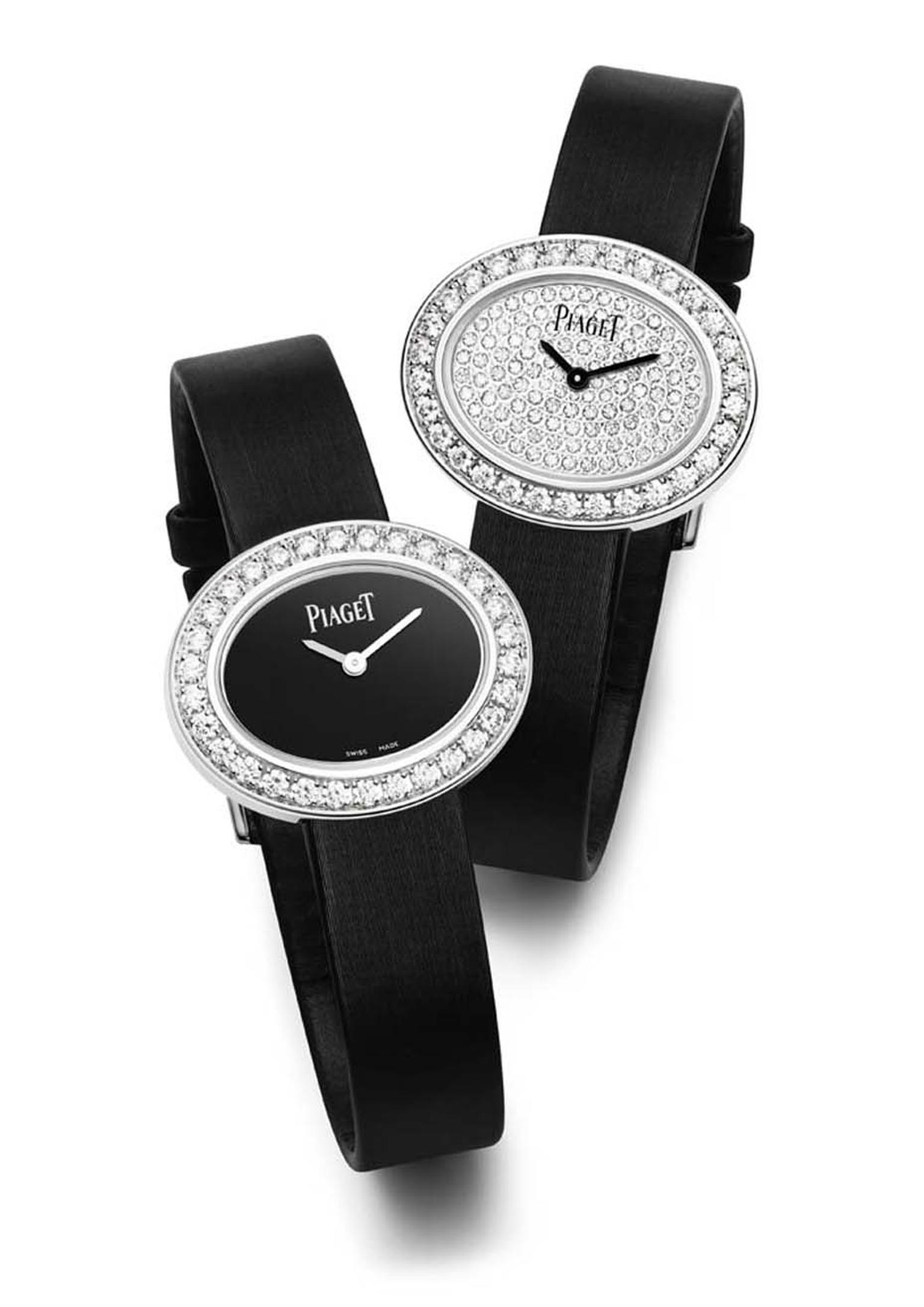 The new Piaget Limelight Diamonds watch with an oval-shaped case echoes the shape of a classic solitaire diamond.
