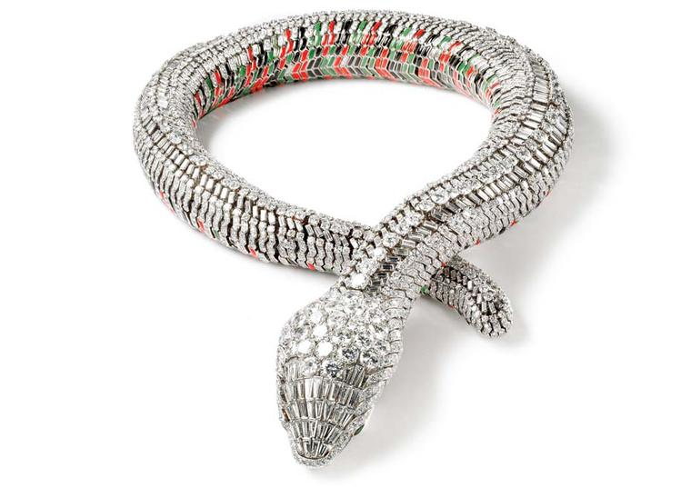 María Félix's Snake necklace, created by Cartier in 1968. The lifelike serpent took two years to make and is set with 2,473 brilliant and baguette-cut diamonds.