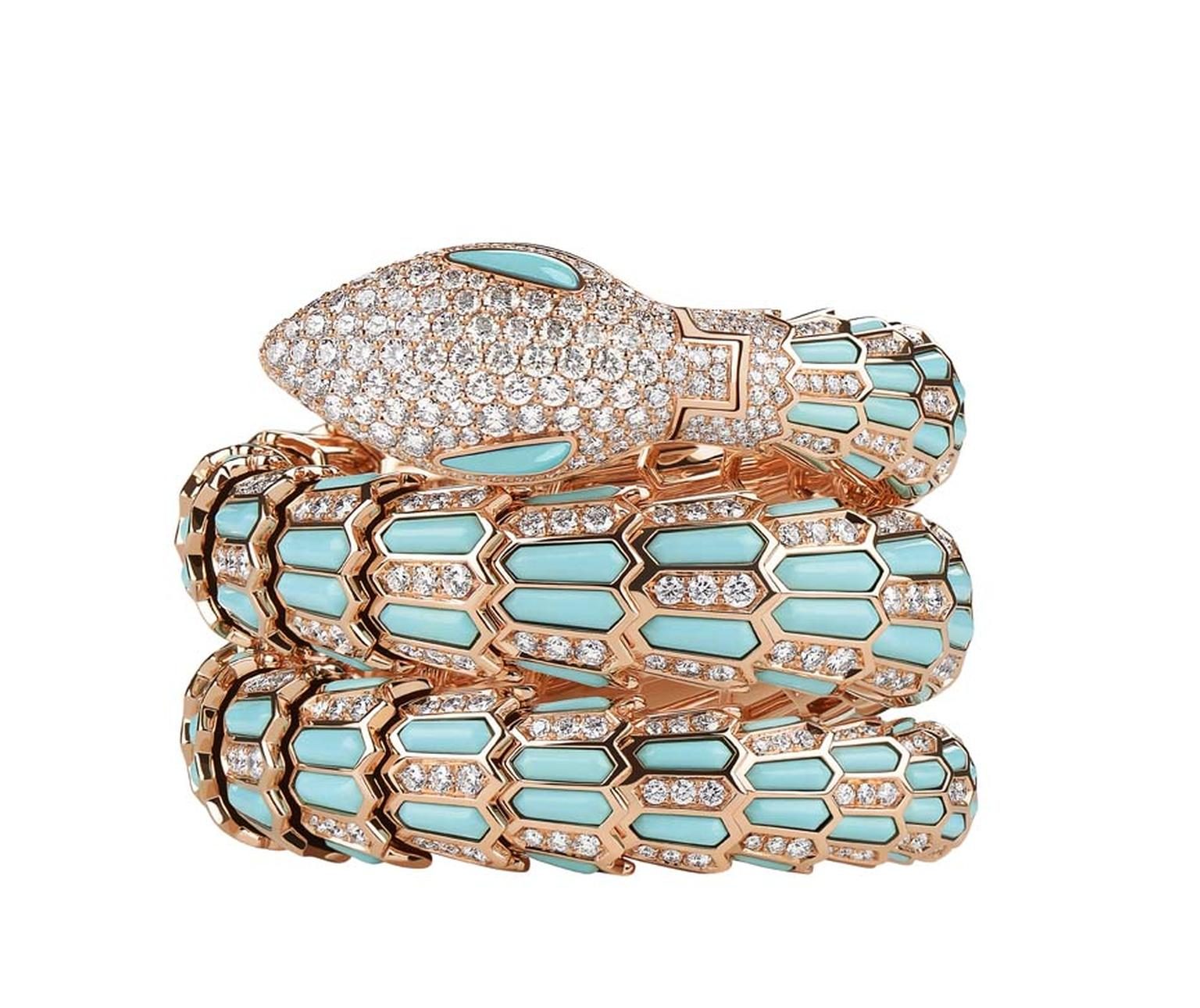 Bulgari Serpenti high jewellery snake watch in rose gold with diamonds and turquoise. Telegraph Time editor Caragh McKay, curator of the exhibition, describes the creativity, vision and skill currently seen in the world of high jewellery watch design as ""