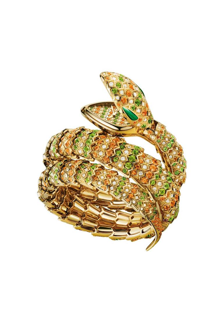 Bulgari Serpenti double spiral bracelet watch with a yellow gold case, set with brilliant-cut diamonds, spessartites, tsavorites and malachite.
