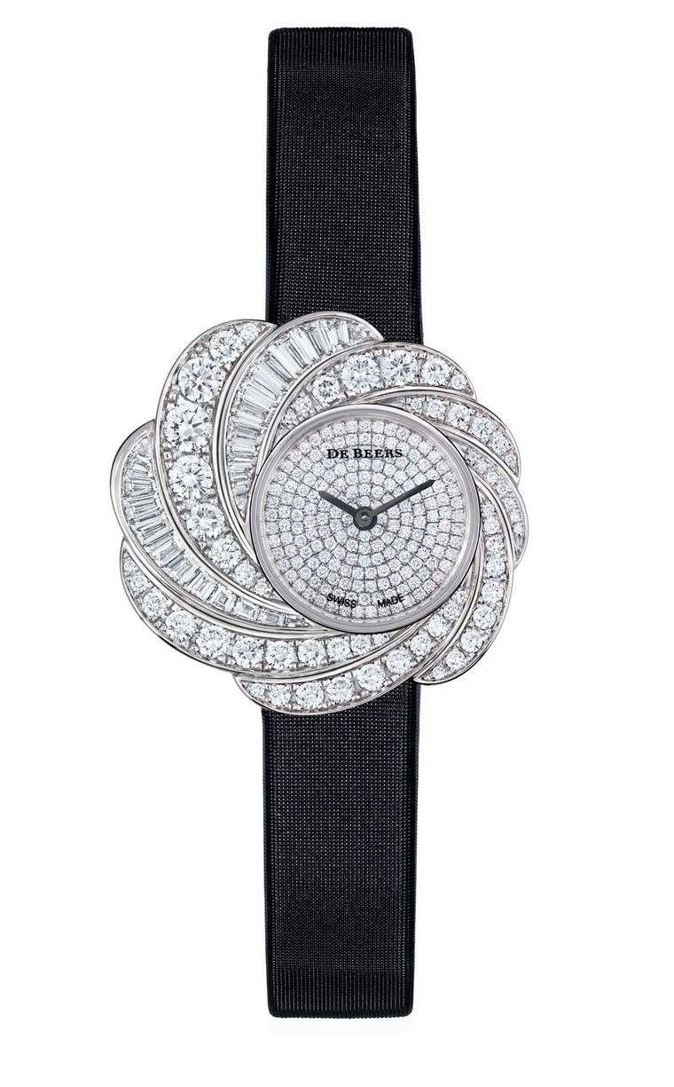 De Beers Aria diamond watch set with round brilliant and baguette-cut diamonds totalling 4.35ct in white gold, with a fully diamond paved dial and black satin strap.