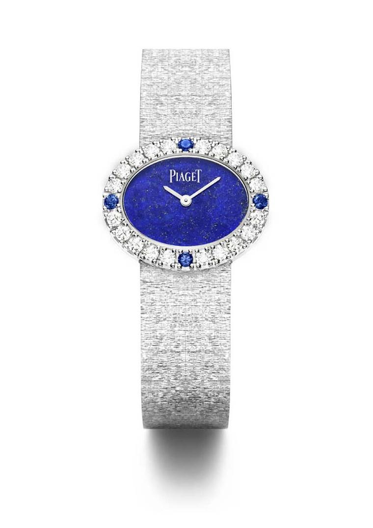 Piaget Altiplano Stone dial watch with a diamond and sapphire bezel.