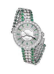 The Harrods Princess watch by Backes & Strauss in white gold with diamonds and Gemfields emeralds.