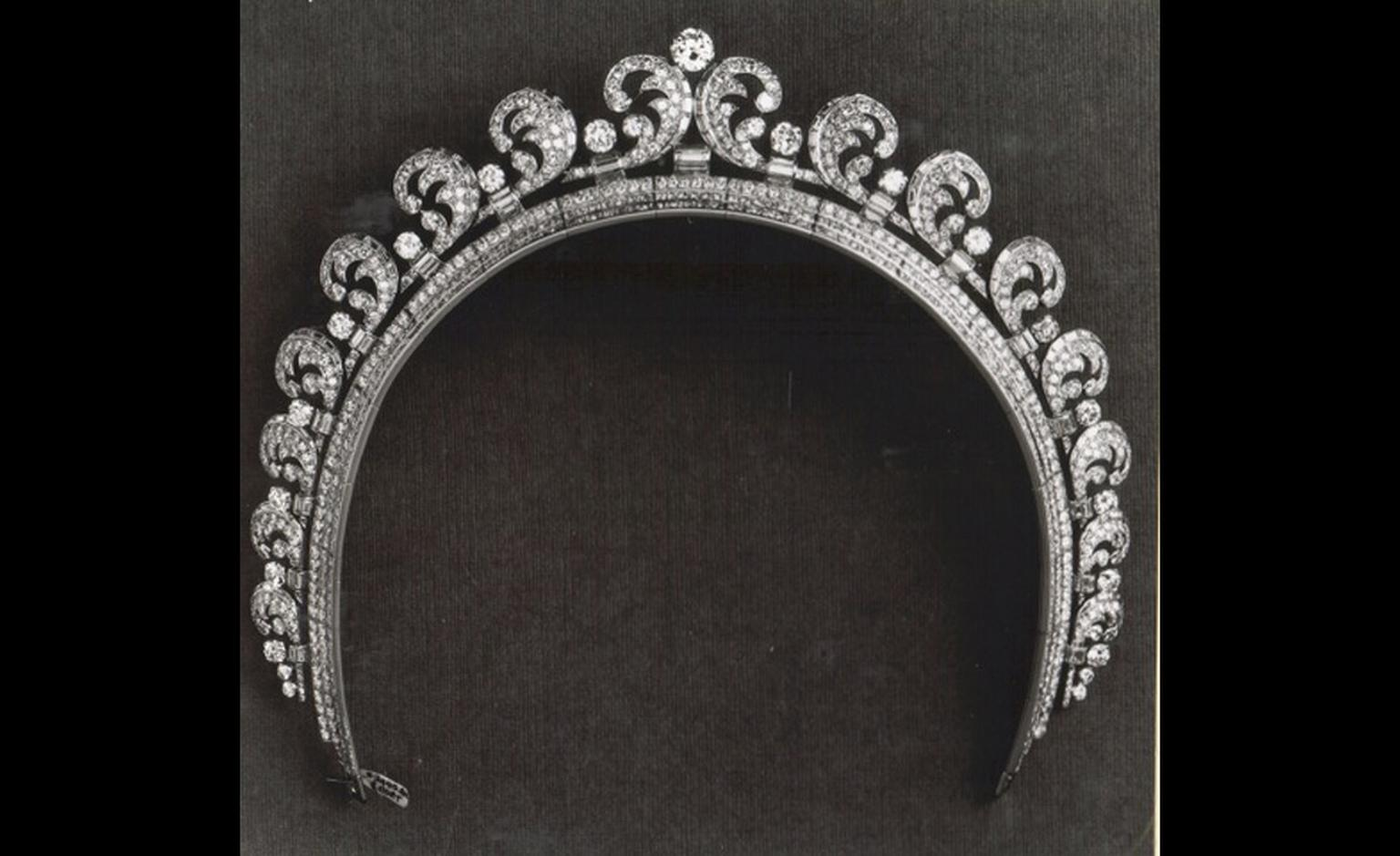 The Cartier Halo diamond tiara worn by Kate Middleton on the occasion of her wedding to Prince William. The tiara was made in Cartier's London workshops and is set with almost 800 diamonds.