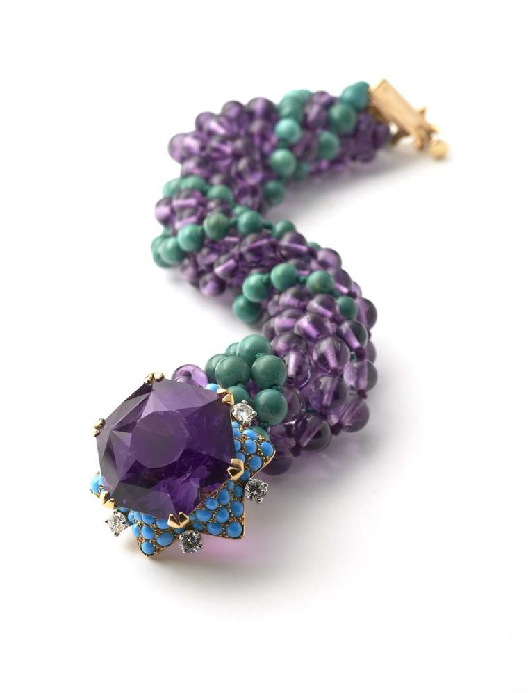 Cartier bracelet that once belonged to the Duke and Duchess of Windsor featuring amethyst, turquoise and diamonds. Exhibited by Hancocks.