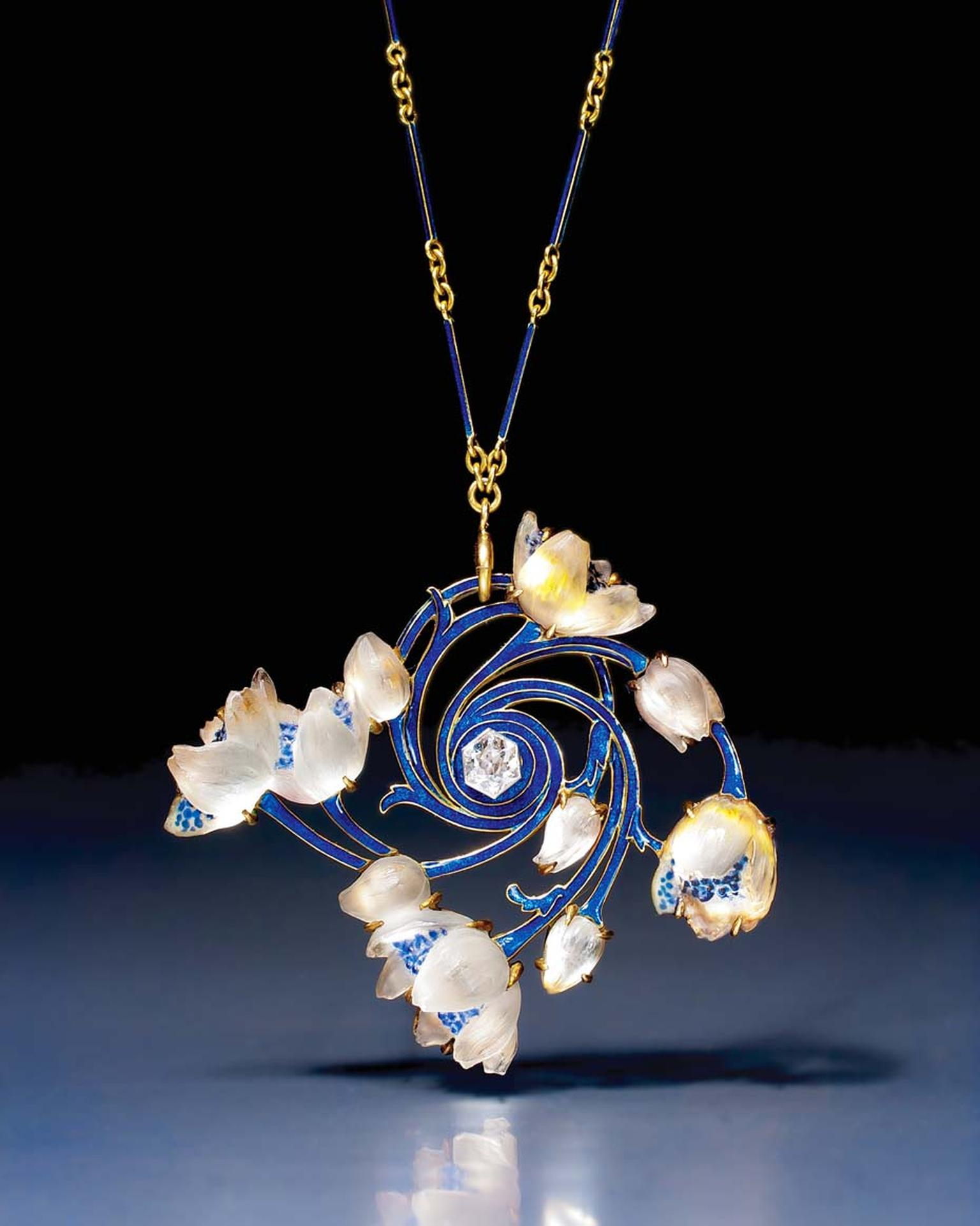 Art Nouveau gold, enamel, glass and diamond wood anemone pendant/brooch by René Lalique. Exhibited by Epoque Fine Jewels.