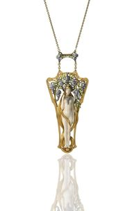 Art Nouveau Wisteria Nymph pendant by Georges Le Sach. Exhibited by Hancocks.