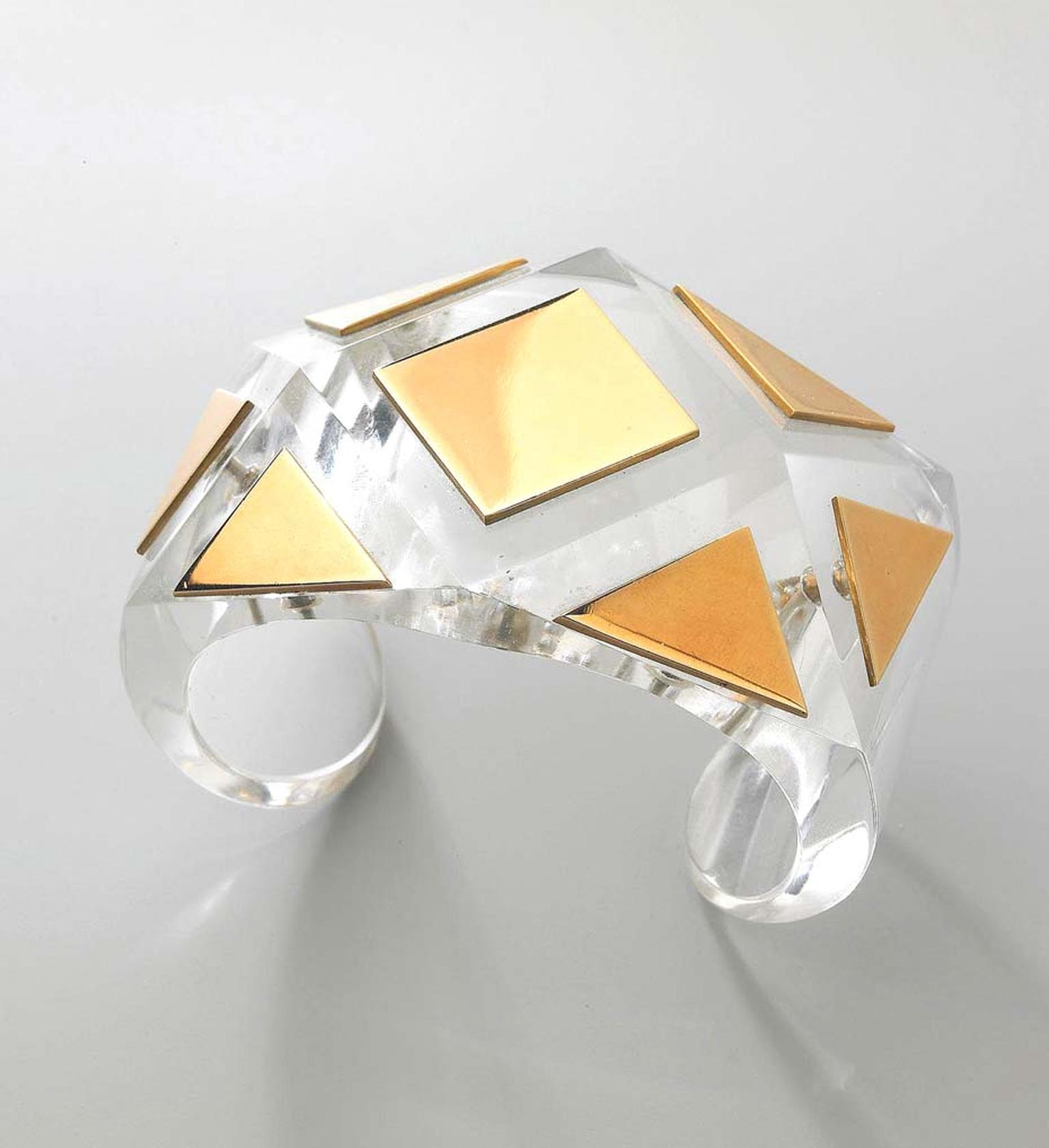 Suzanne Belperron bracelet in rock crystal and gold, circa 1930s. Exhibited by Primavera Gallery.
