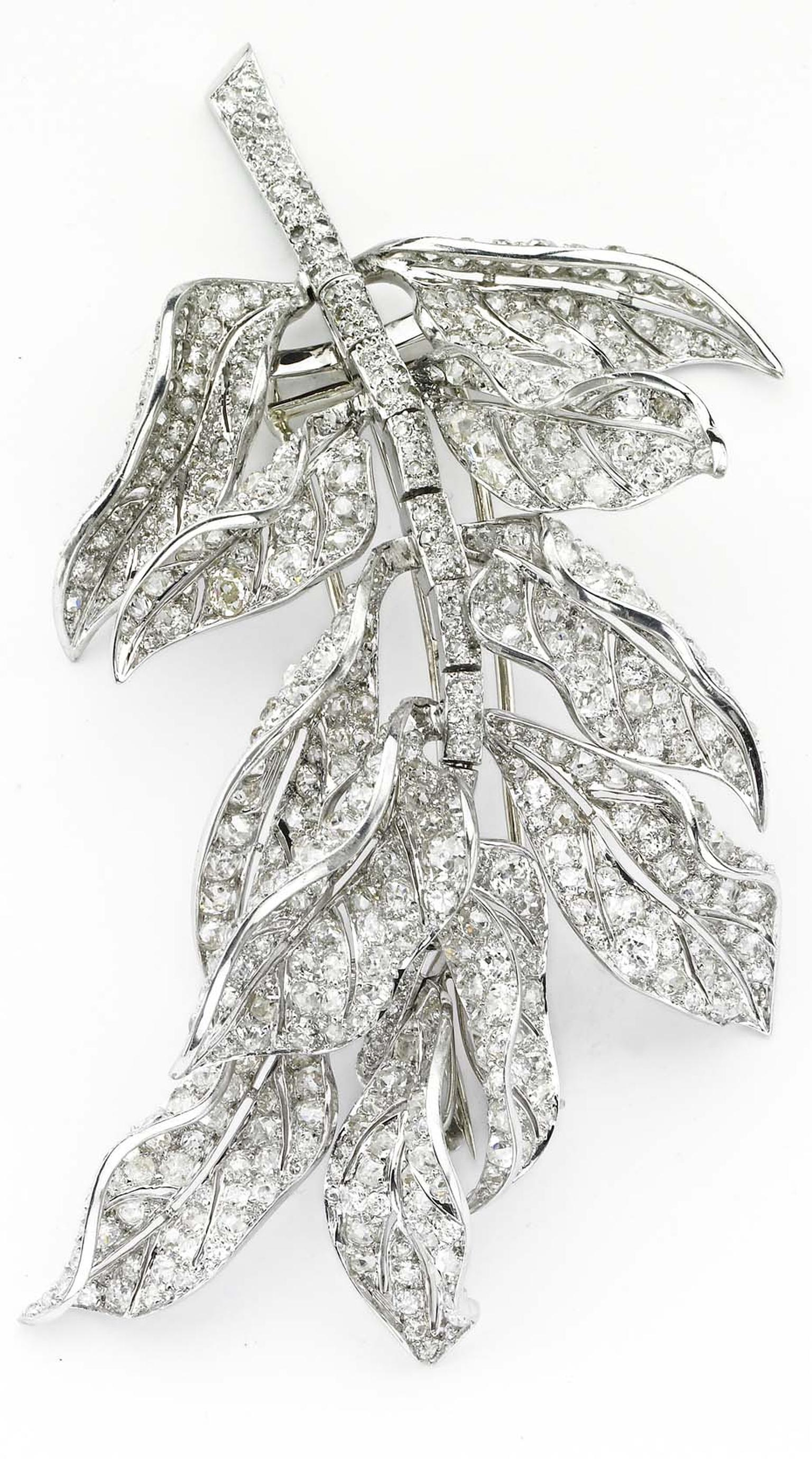 Platinum and diamond brooch by Paul Flato, circa 1930s. Exhibited by Primavera Gallery.