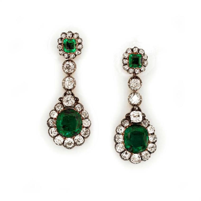 19th century emerald and diamond cluster pendant earrings, exhibited by Shrubsole.