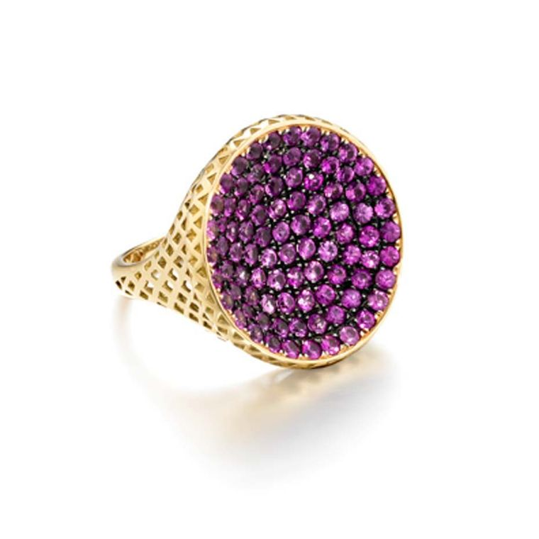 Ray Griffiths yellow gold crownwork Signet ring set with 3.50ct of pavé rubies.