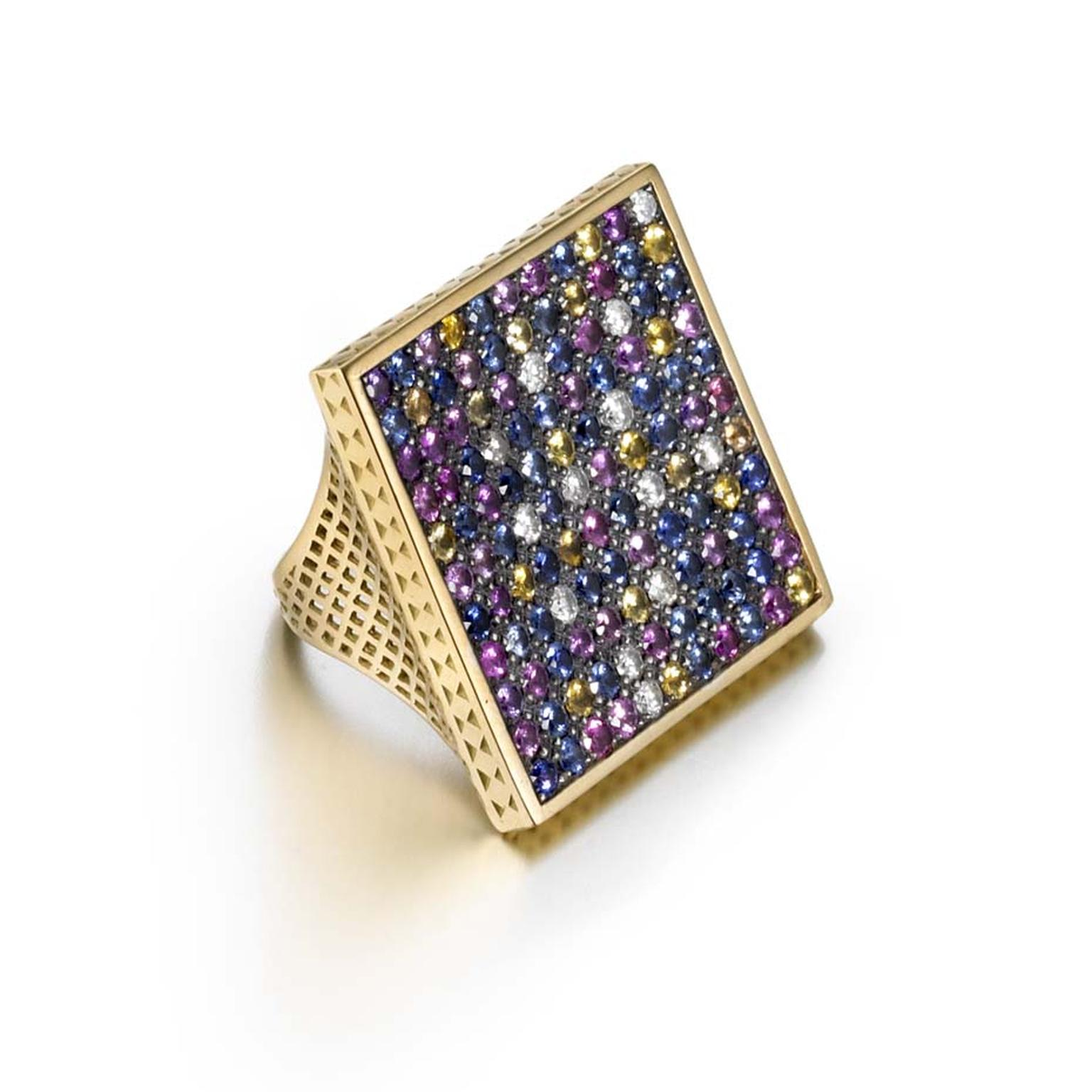 Ray Griffiths one-of-a-kind yellow gold square crownwork Disco ring with pavé diamonds and 6.30ct of multi-colored sapphires set in oxidized silver.