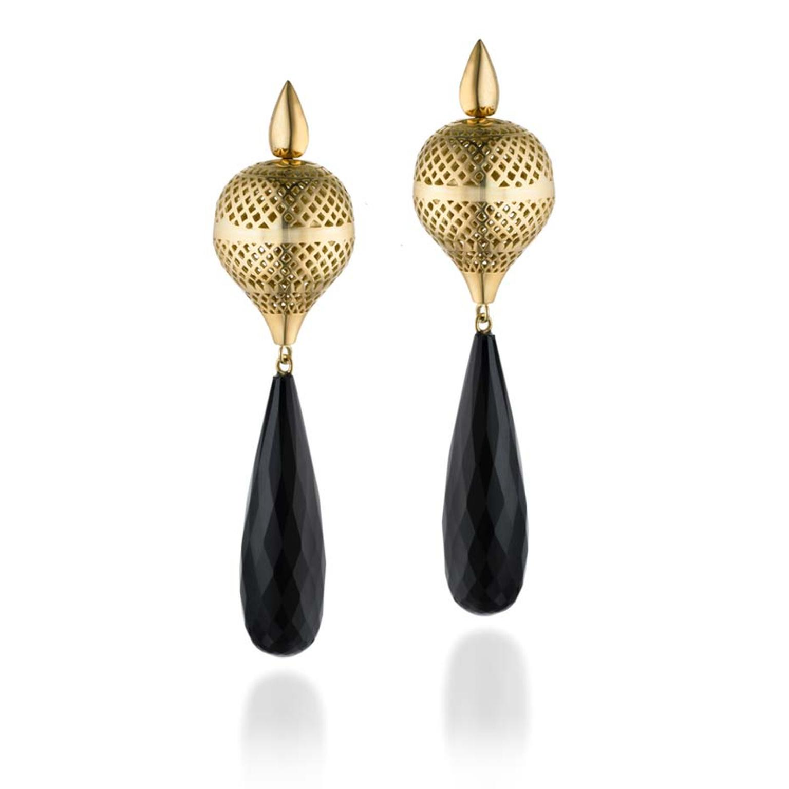 Ray Griffiths one-of-a-kind yellow gold finial hook earrings with black onyx drops.