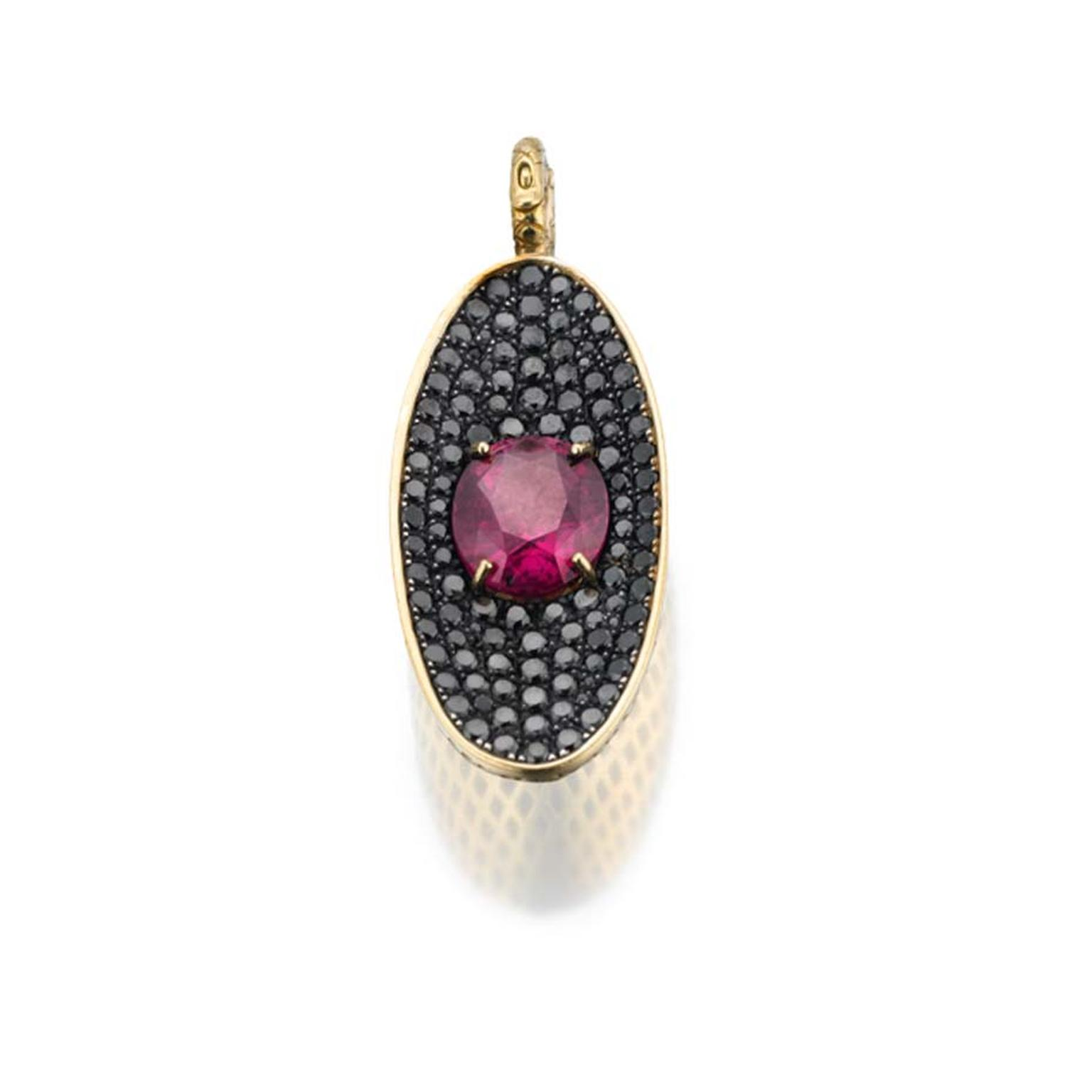 Ray Griffiths yellow gold crownwork elongated pendant with pavé black diamonds surrounding 7.65ct of rhodolite garnet.