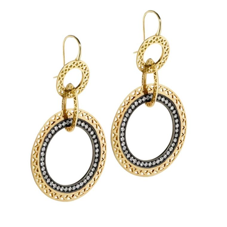 Ray Griffiths yellow gold crownwork Gypsy hoop multi-drop earrings with a pavé diamond center set in oxidized silver.
