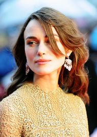 Keira Knightley wears David Morris earrings to the London premiere of her new film The Imitation Game