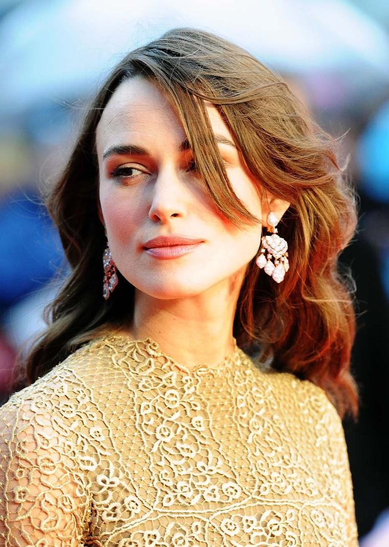 Actress Keira Knightley looked every inch the English rose in a pair of stunning David Morris diamond earrings at the premiere of her new film The Imitation Game in London.