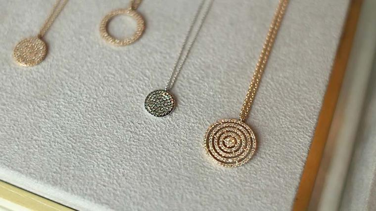 Astley Clarke's Muse collection diamond necklaces are available in rhodium, rose or yellow gold.