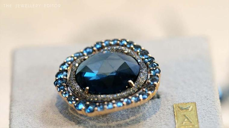 Astley Clarke Fao collection London blue topaz ring.