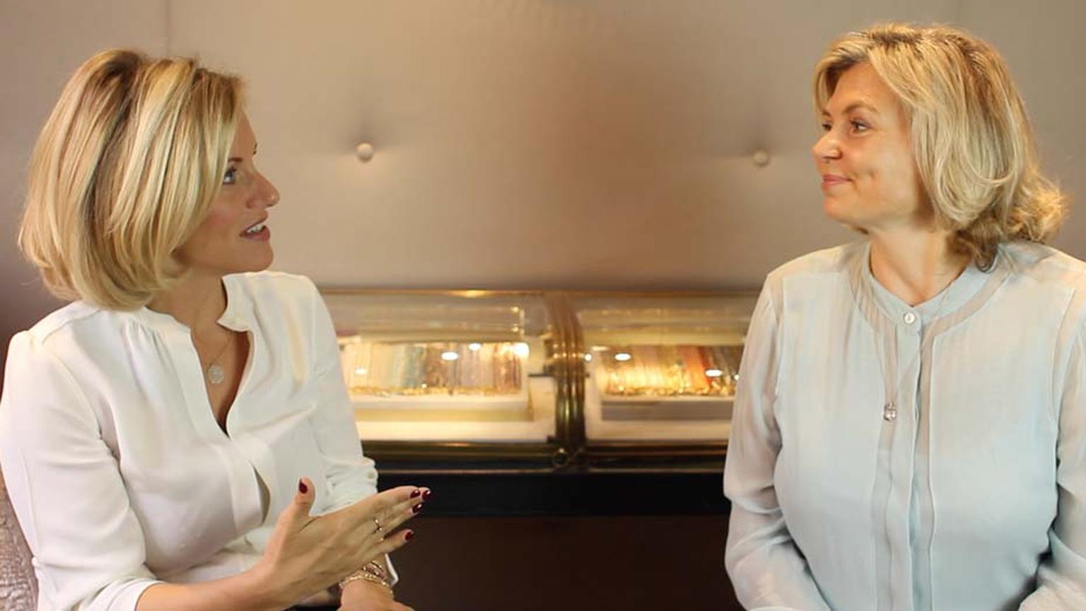 Bec Astley Clarke and Maria Doulton casually chat within the Astley Clarke London boutique, found within a quintessentially London Mews; The perfect place for a British luxury jewellery boutique.