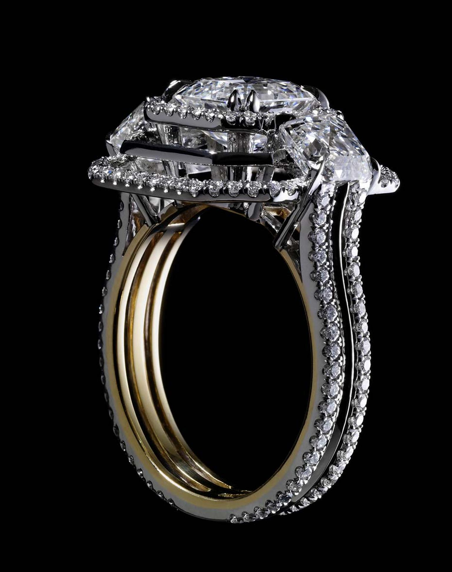 Alexandra Mor Signature three-stone Asscher-cut diamond ring.