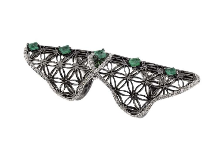 Dionea Orcini Semiramis white and black gold double ring with the Flower of Life sacred geometry pattern set with diamonds, emeralds and tsavorites.