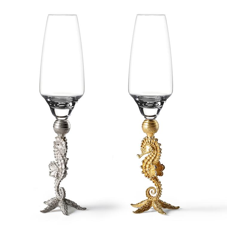 Massimo Izzo gold Seahorse champagne flutes, from the Jewels of the Sea collection.