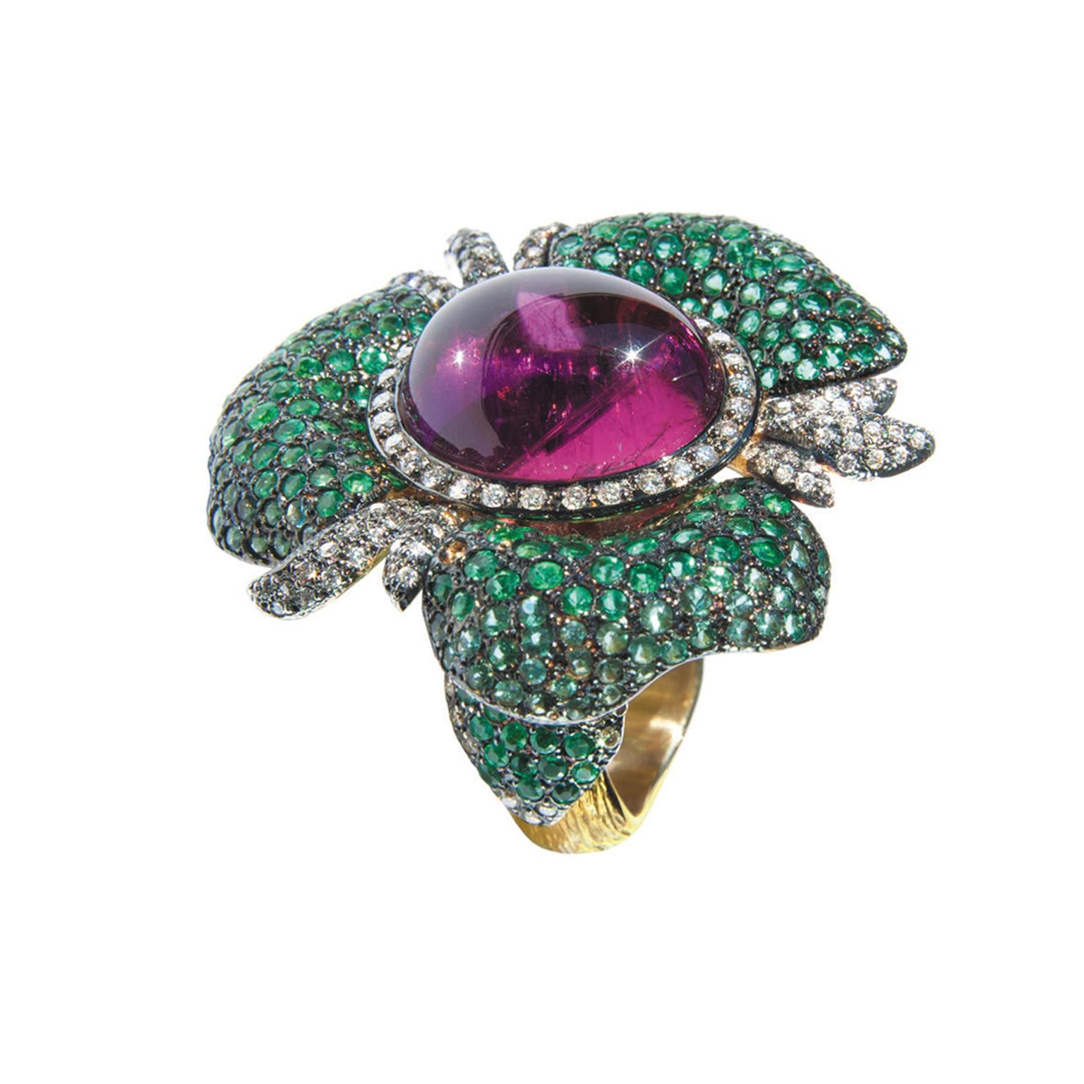 Cleison Roche's Orchid ring with emerald petals, Paraiba tourmalines, diamonds and a central rubellite.