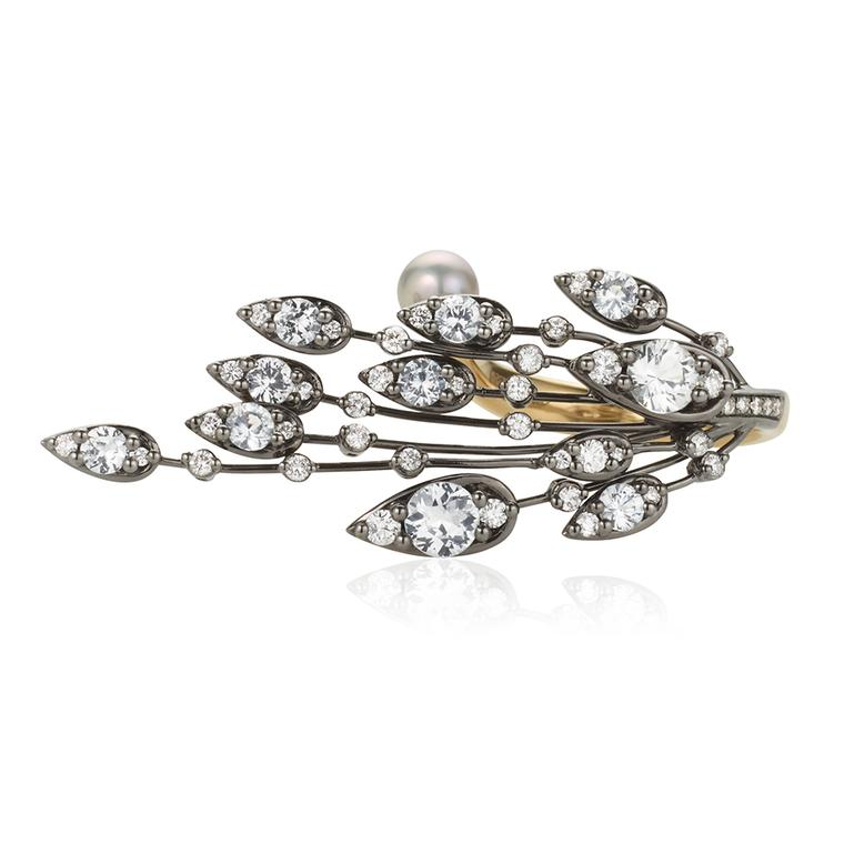 Nicholas Lieou Daedalus collection Athena ring with diamonds and pearls.