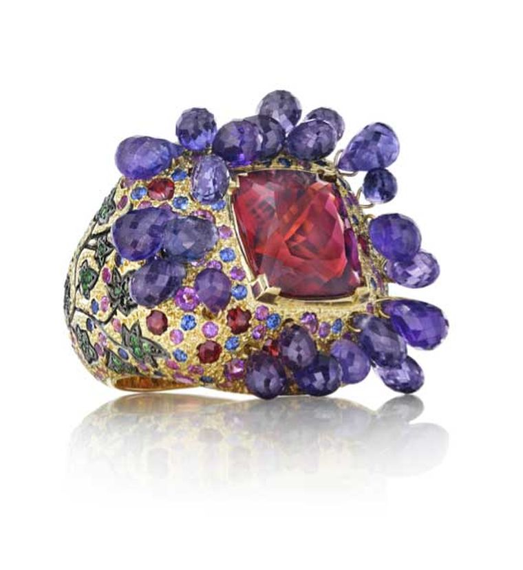 One-of-a-kind Madstone Bacchus ring with amethyst briolettes, a palette of coloured gemstones and a shank of creeping ivy.