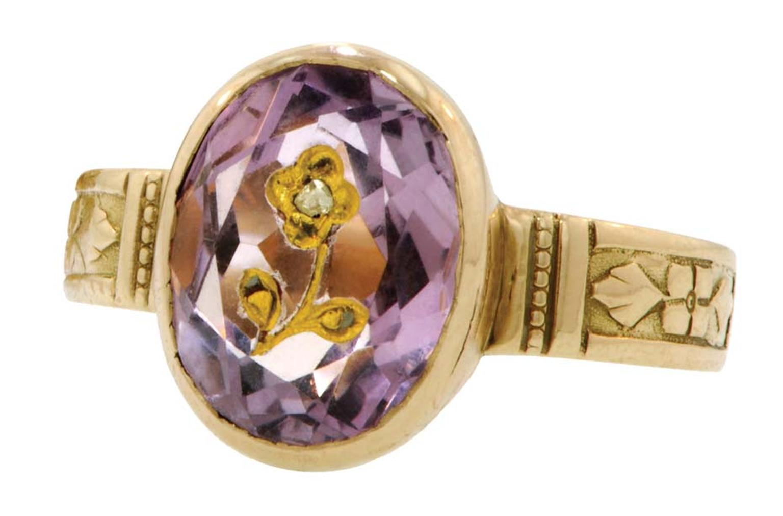 Forget-Me-Not gold ring with amethysts and diamonds, circa 1876.