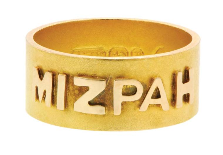 Mizpah gold band from 1898 with raised lettering by the Coley Brothers.