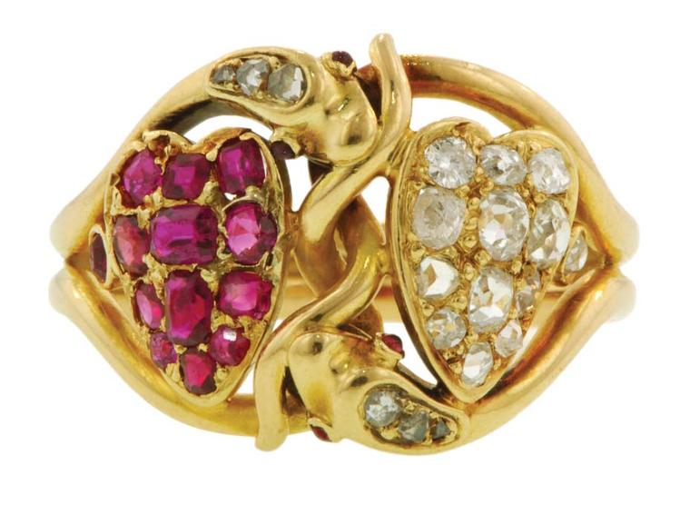 Twin Heart Snake ring featuring ruby and diamond hearts set within a pair of coiled snakes, circa 1880. From the private collection of Elizabeth Doyle.
