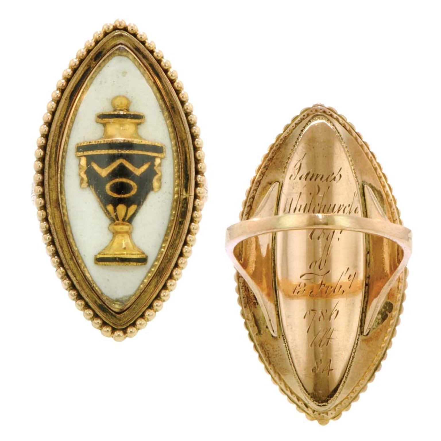 Mourning ring from 1786 featuring a black enameled urn under rock crystal in a navette-shaped frame with a beaded edge, engraved on the reverse Doyle & Doyle.