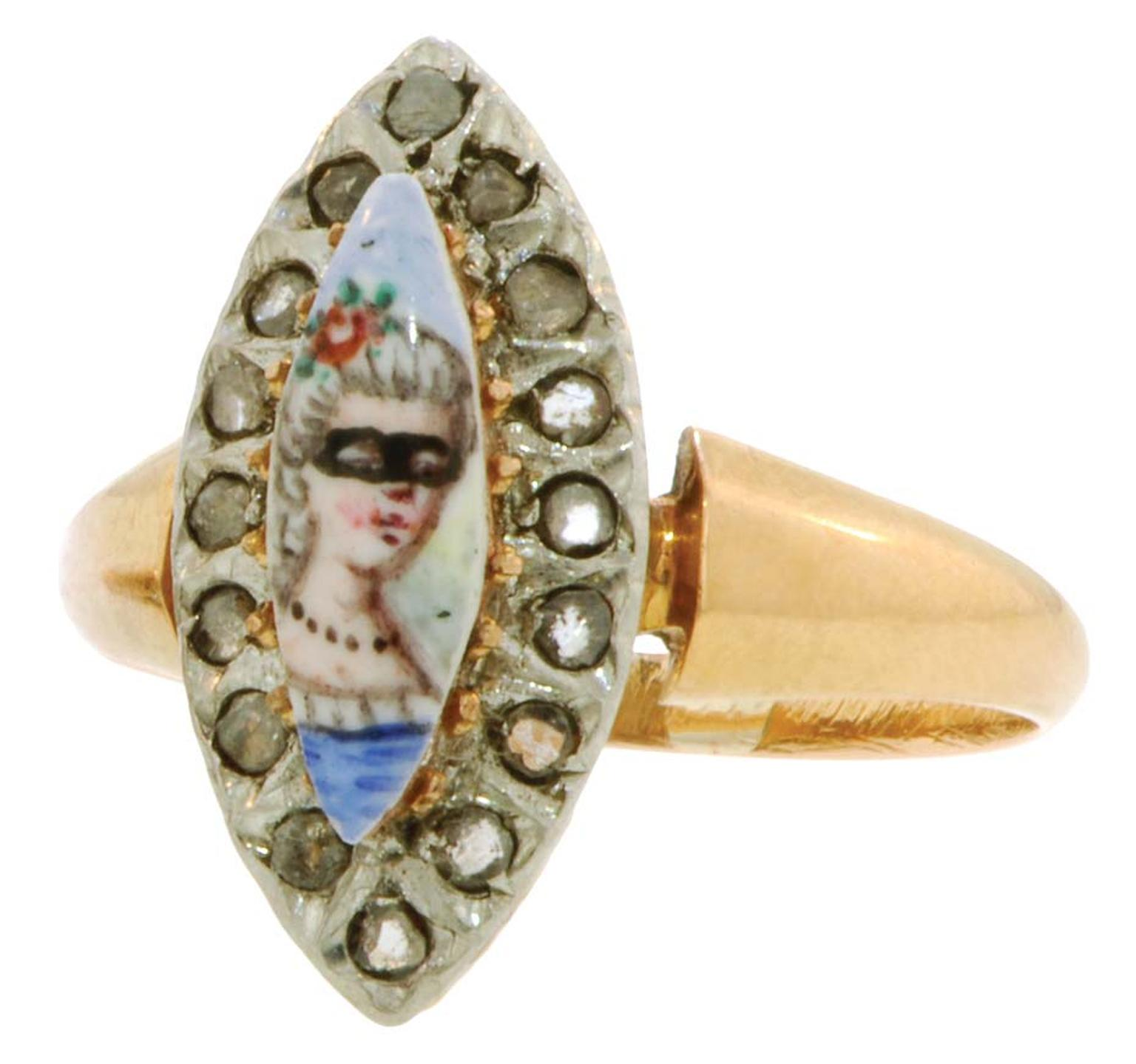 20th-century diamond Portrait and Mask ring featuring a hand-painted masked woman framed by rose-cut diamonds. From the private collection of Danielle Miele.