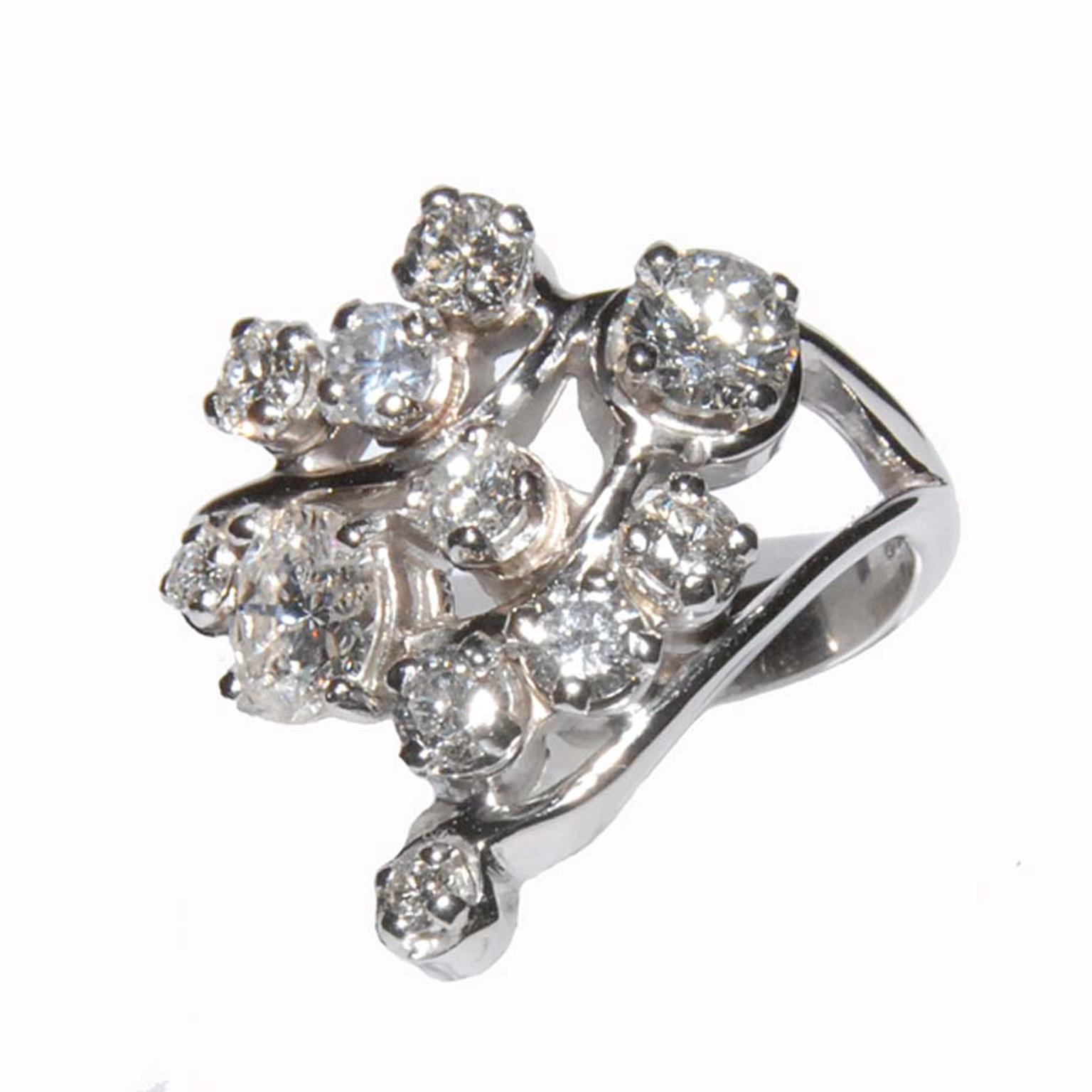 Keith Gordon engagement ring bursting with brilliant-cut diamonds.