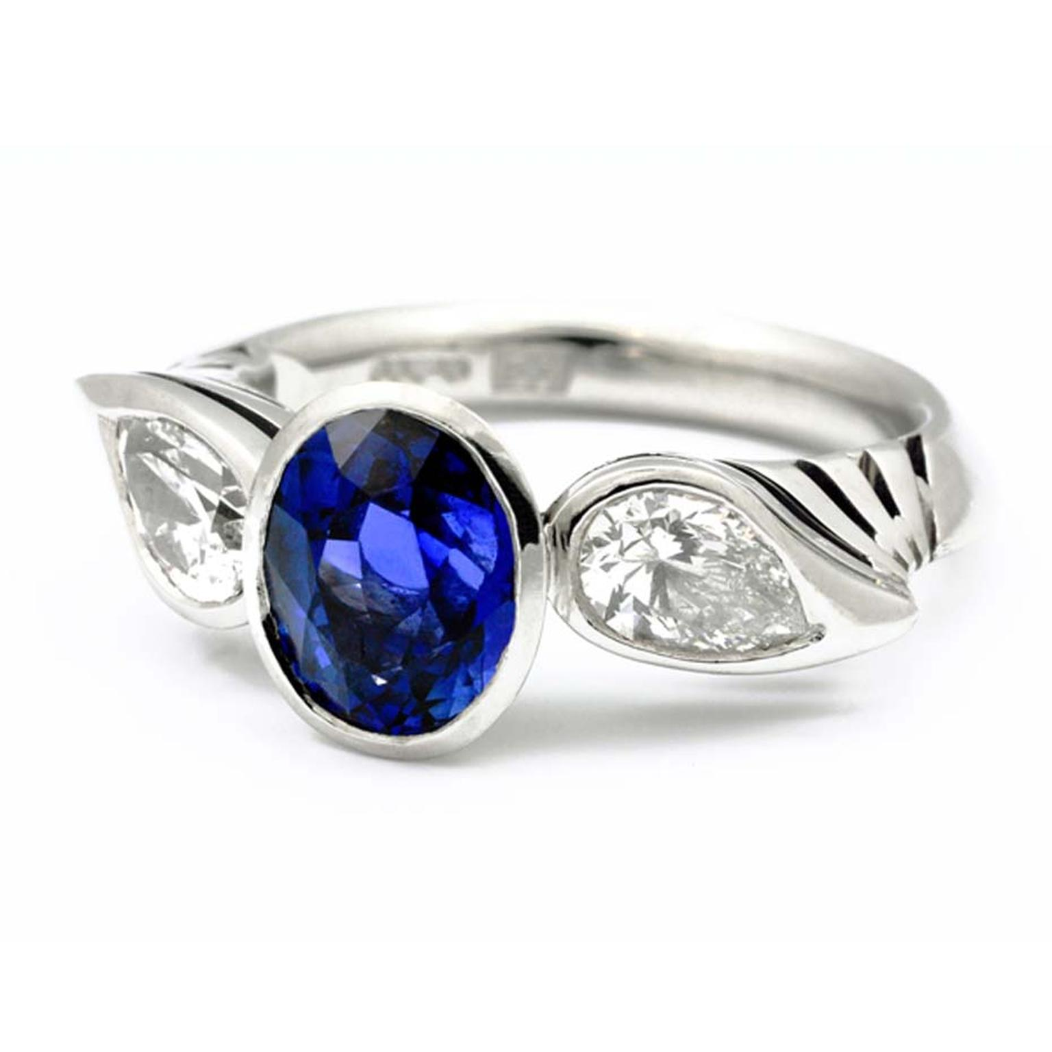 Andrew English brilliant-cut sapphire and pear-shaped diamond Prema ring.