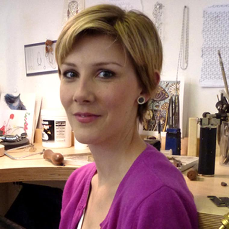 Beth Gilmour in her Bloomsbury design studio, where she designs and makes all of her own pieces.