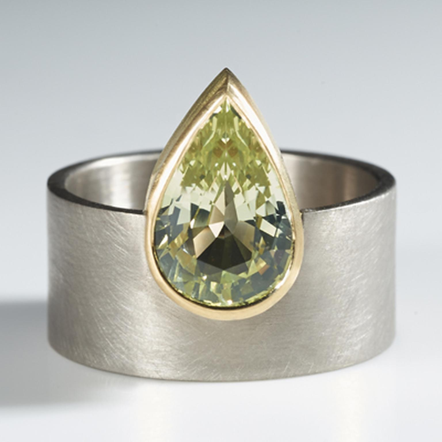 Shivani Patel pear-shaped chrysoberyl ring.