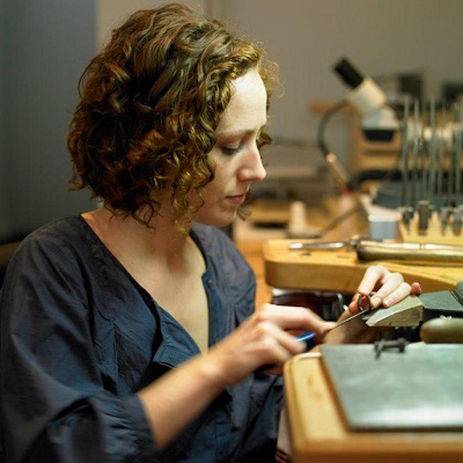 Irish goldsmith Jessica Poole at work in her central London studo.