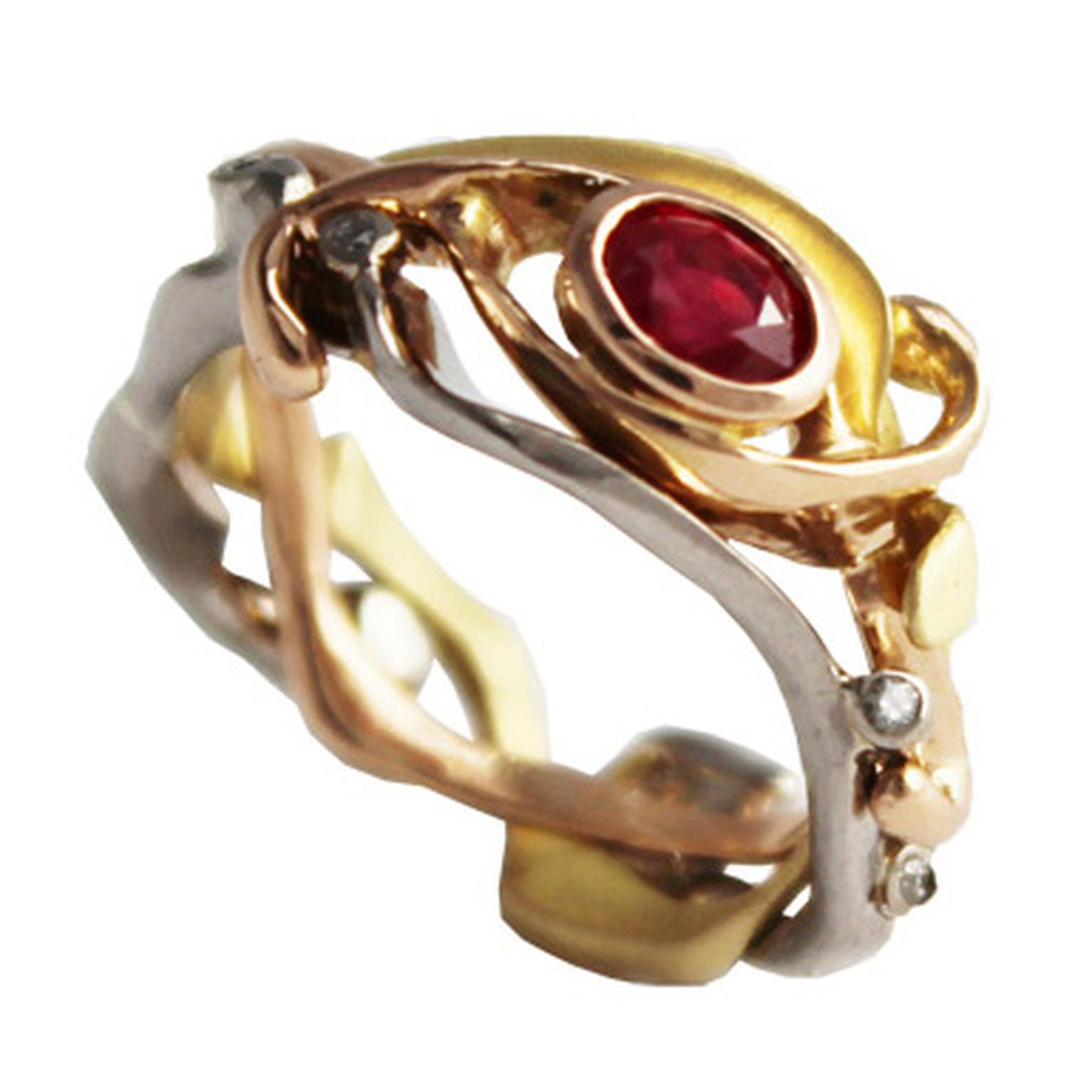 Daniel Gallie ruby ring with rose, white and yellow gold.
